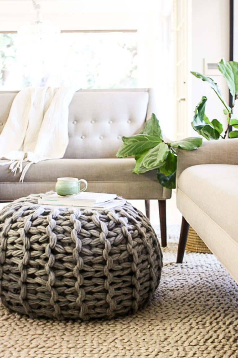 Fabulous Arm Knit Floor Pouf Pattern by Anne Weil of Flax & Twine